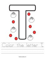 Color the letter T Handwriting Sheet