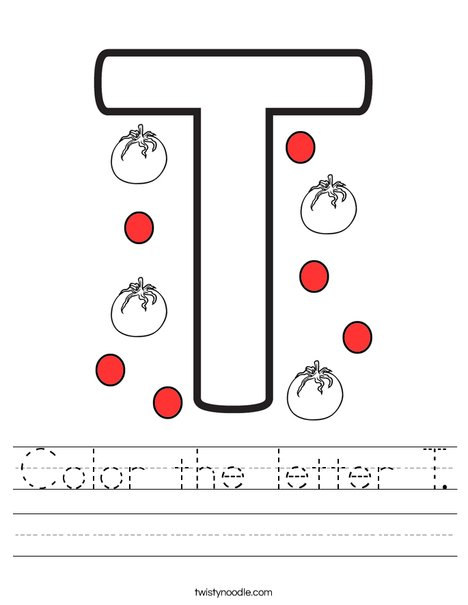 Color the letter T. Worksheet