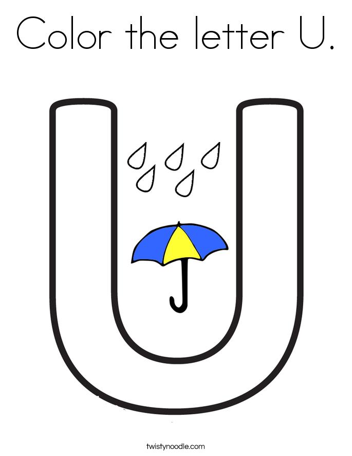 Color the letter U Coloring Page - Twisty Noodle