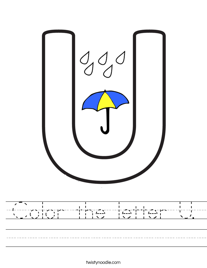 Color the letter U. Worksheet