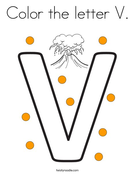 Color the letter V. Coloring Page