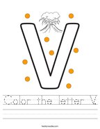 Color the letter V Handwriting Sheet