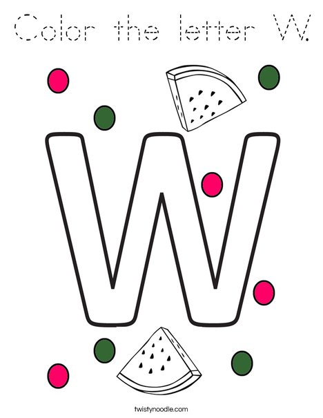 Color the letter W. Coloring Page