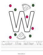 Color the letter W Handwriting Sheet