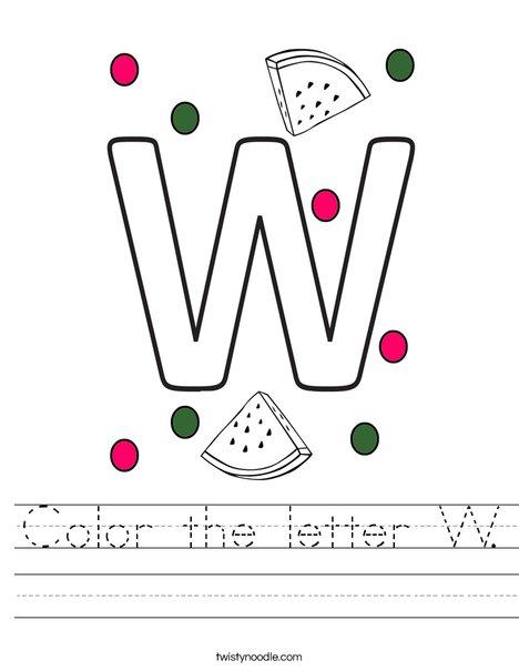 Color the letter W. Worksheet