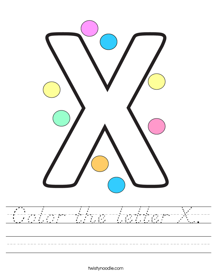 Color the letter X. Worksheet