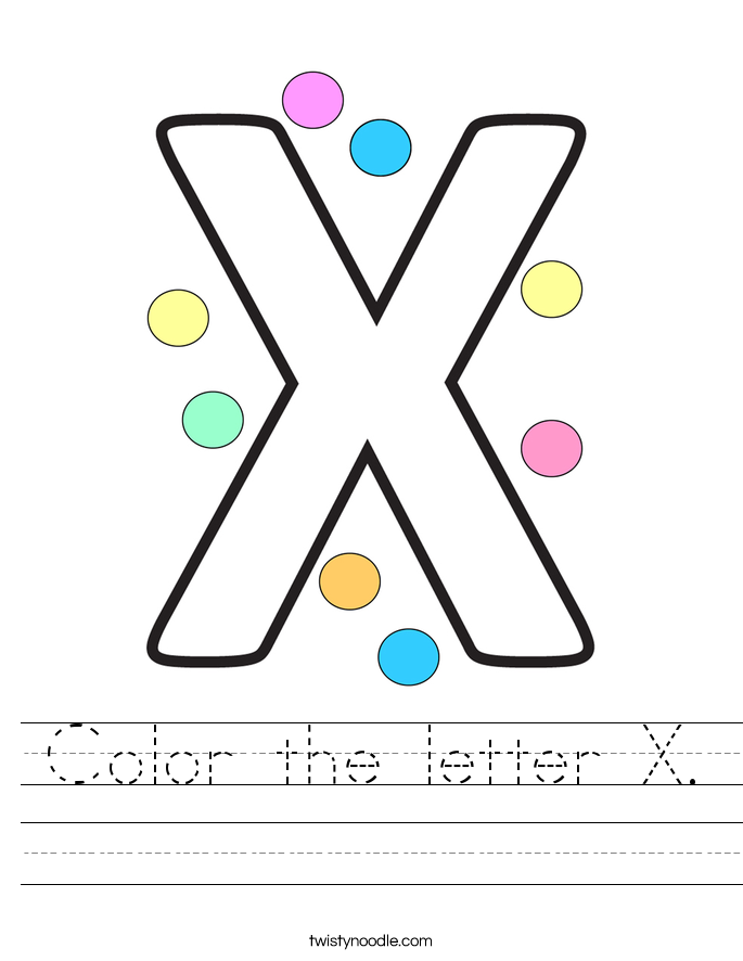 Color the letter X. Worksheet