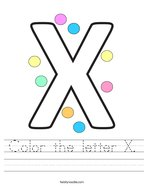 Color the letter X Handwriting Sheet