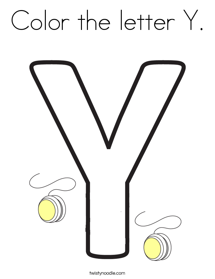 color the letter y coloring page twisty noodle