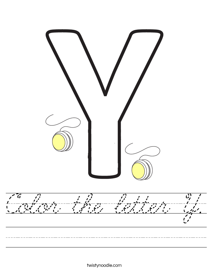 Color the letter Y. Worksheet