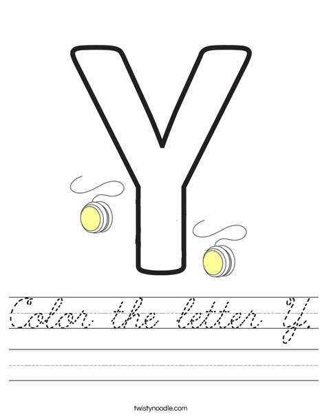 Color the letter Y Worksheet - Cursive - Twisty Noodle