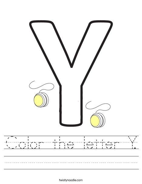 Color the letter Y Worksheet Twisty Noodle