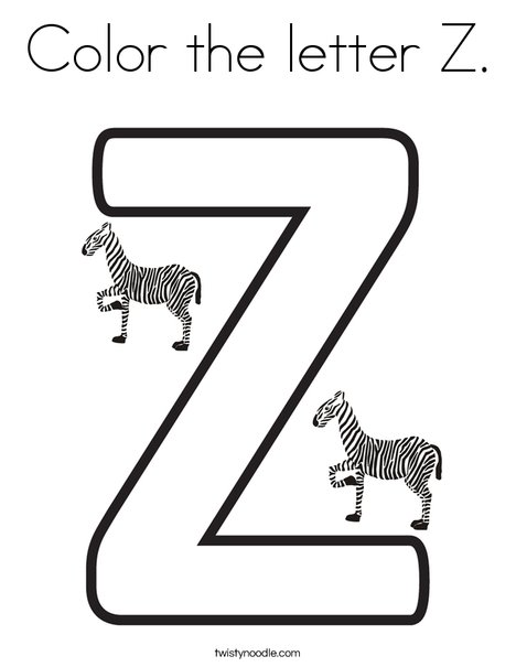 Color the letter Z Coloring Page - Twisty Noodle