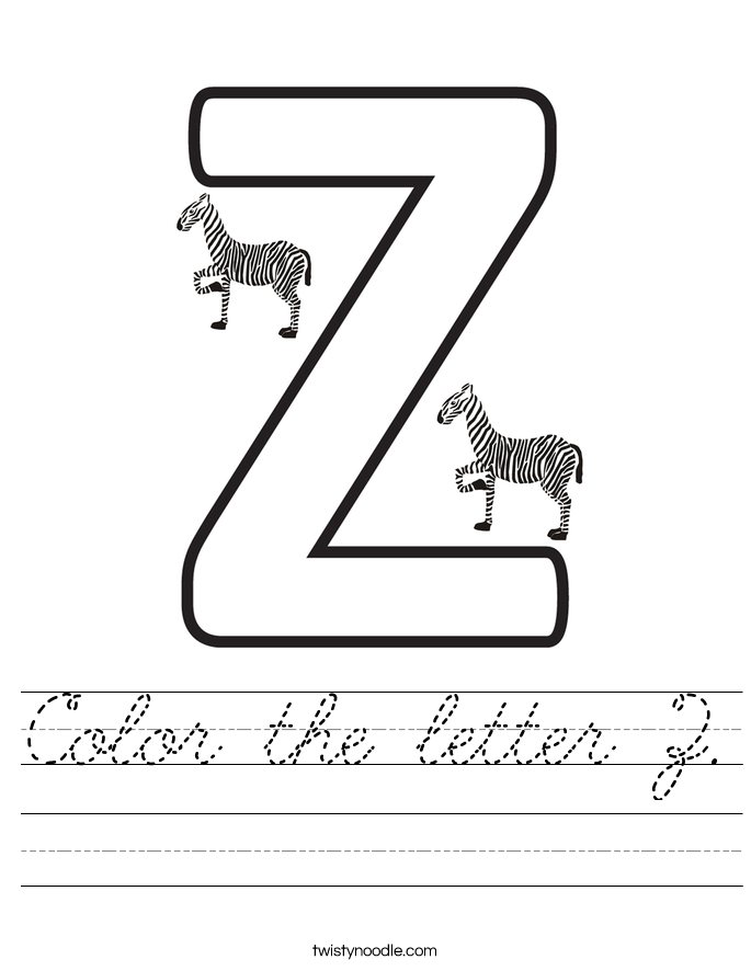 Color the letter Z. Worksheet