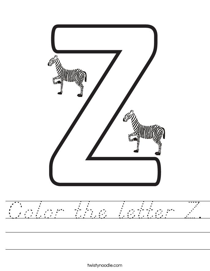 Color the letter Z. Worksheet