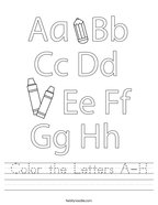 Color the Letters A-H Handwriting Sheet