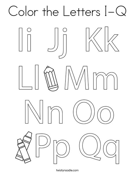 Color the Letters I-Q Coloring Page