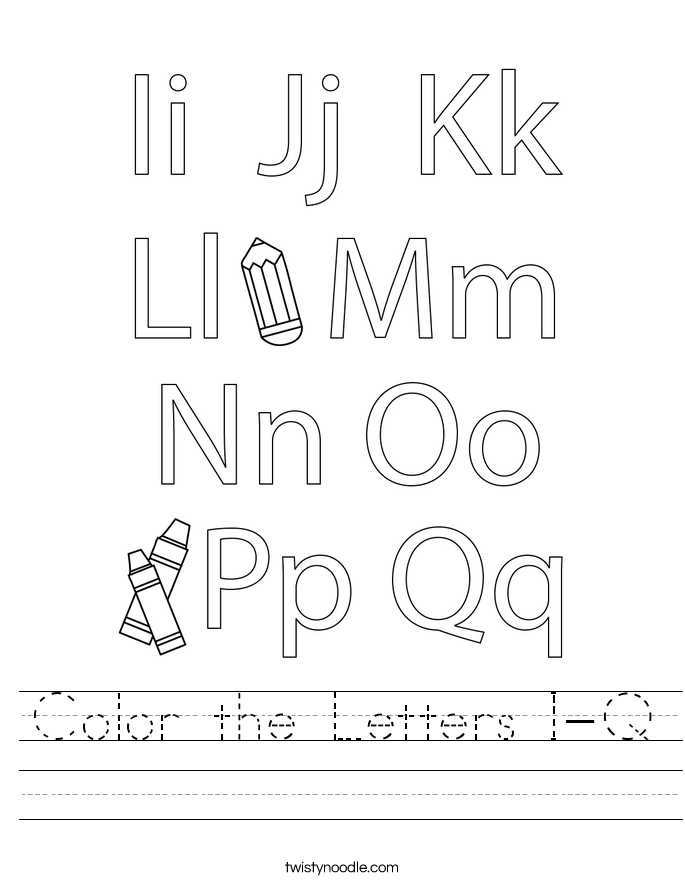 Color the Letters I-Q Worksheet