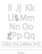 Color the Letters I-Q Handwriting Sheet