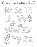 Color the Letters R-Z Coloring Page