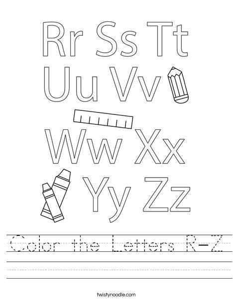 Color the Letters R-Z Worksheet