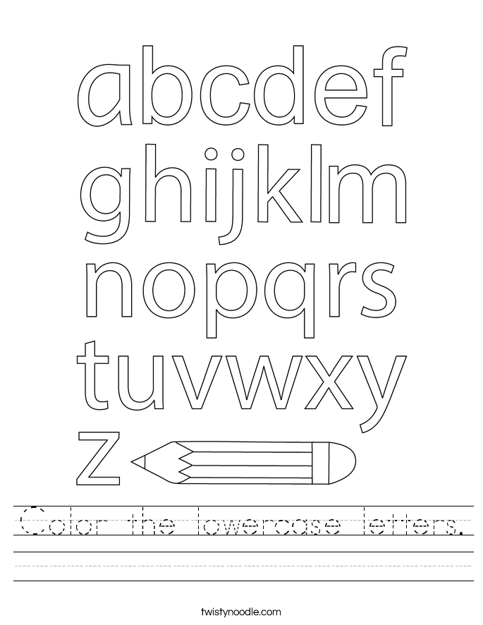 Color the lowercase letters. Worksheet