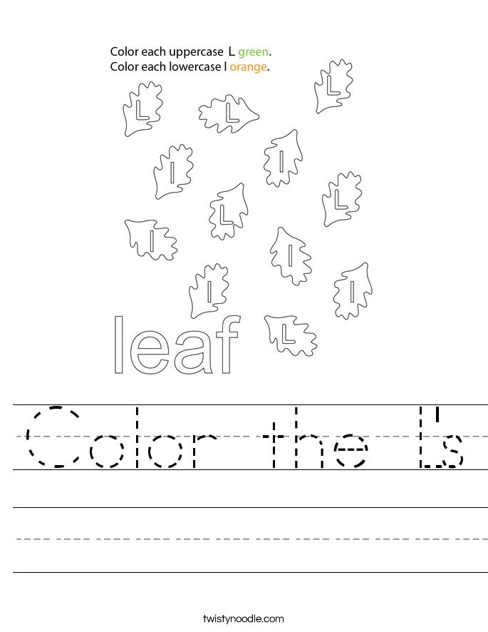 Color the L's Worksheet