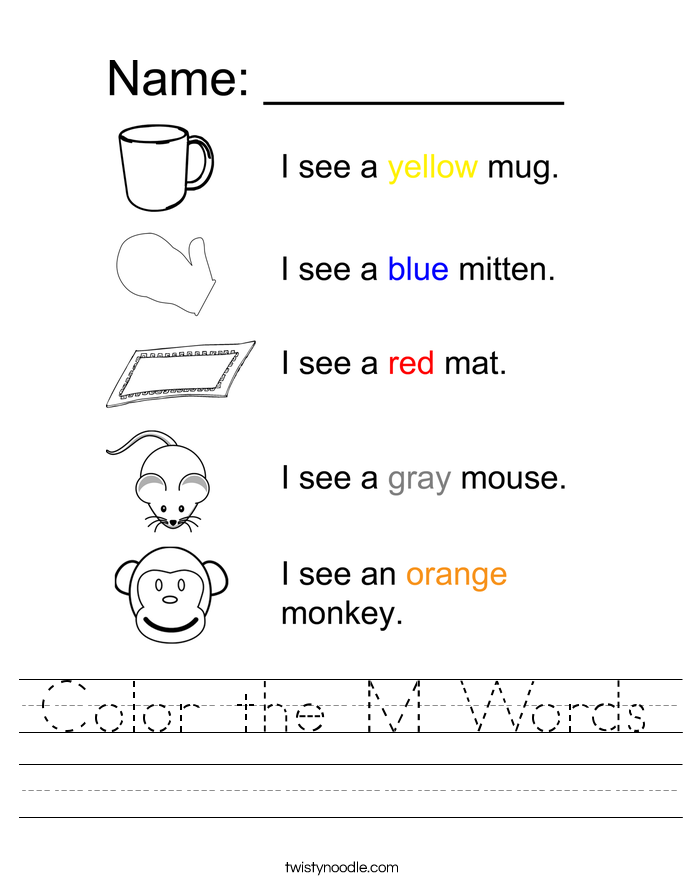 Color the M Words Worksheet
