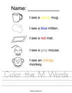 Color the M Words Handwriting Sheet
