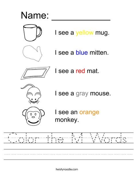 Color the M Words Worksheet