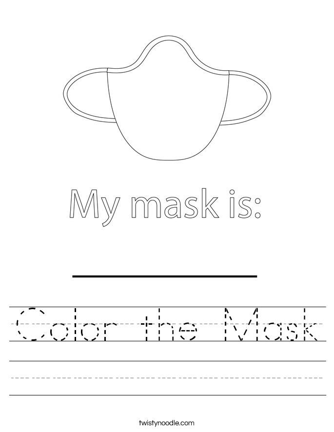 Color the Mask Worksheet