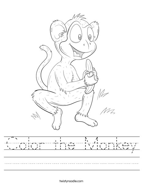Color the Monkey Worksheet