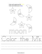 Color the M's Handwriting Sheet
