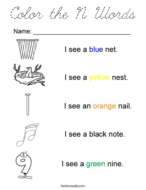 Color the N Words Coloring Page