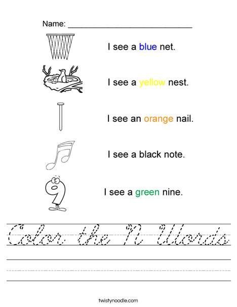 Color the N Words Worksheet