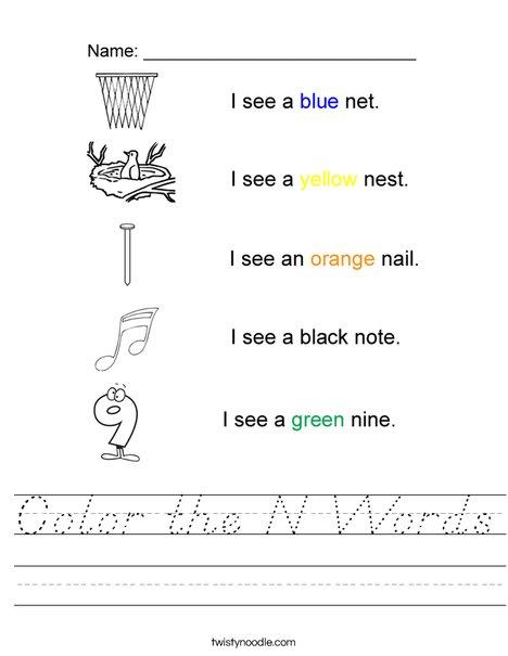 Color the N Words Worksheet