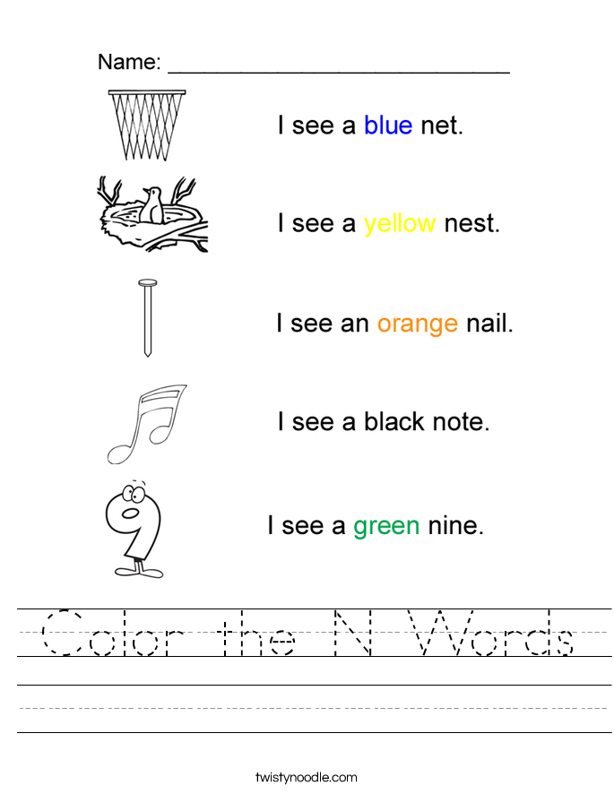 Color the N Words Worksheet Twisty Noodle – Color Words Worksheets