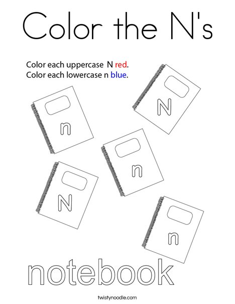Color the N's Coloring Page