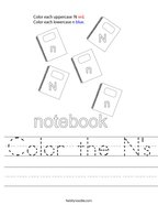 Color the N's Handwriting Sheet