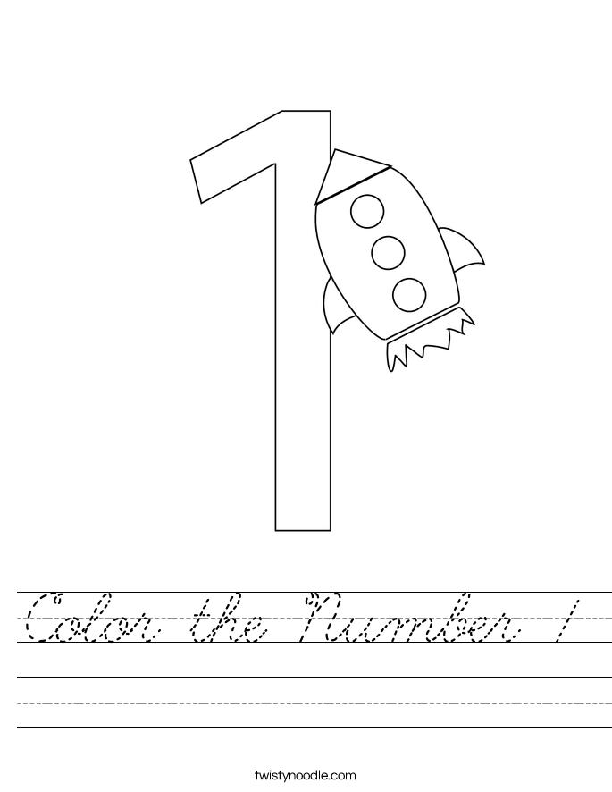 Color the Number 1 Worksheet