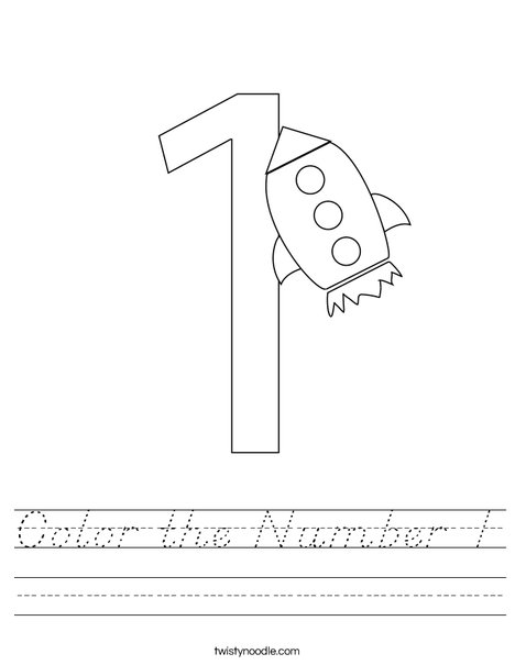Color the Number 1 Worksheet