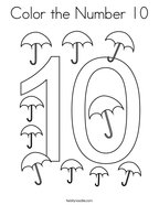 Color the Number 10 Coloring Page