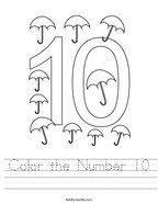 Color the Number 10 Handwriting Sheet