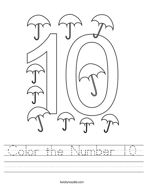 Color the Number 10 Worksheet