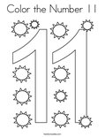 Color the Number 11 Coloring Page