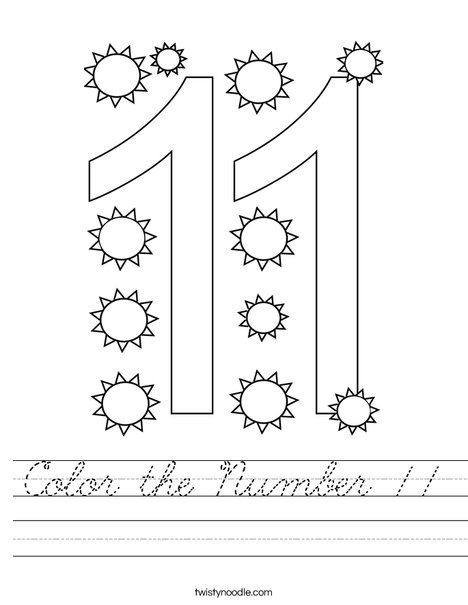 Color the Number 11 Worksheet
