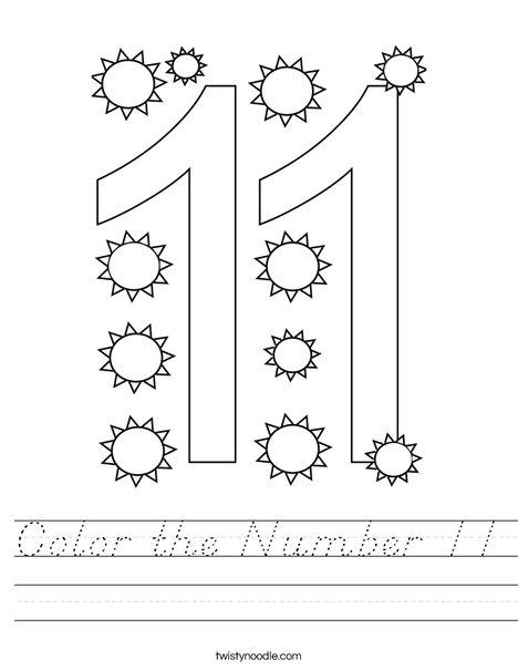 Color the Number 11 Worksheet