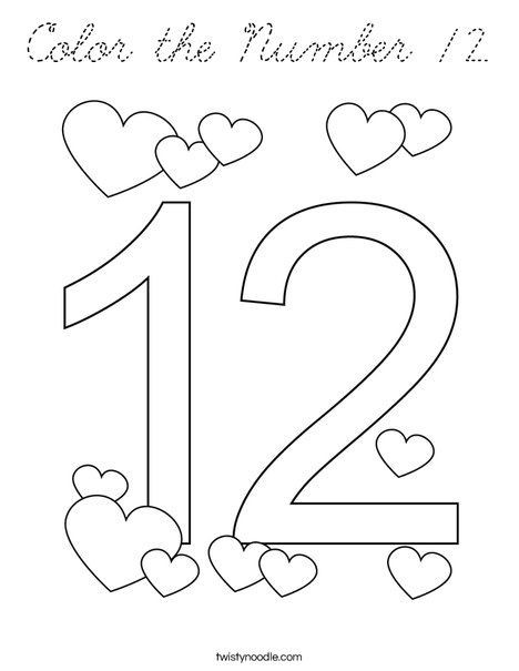 Color the Number 12 Coloring Page