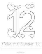 Color the Number 12 Handwriting Sheet