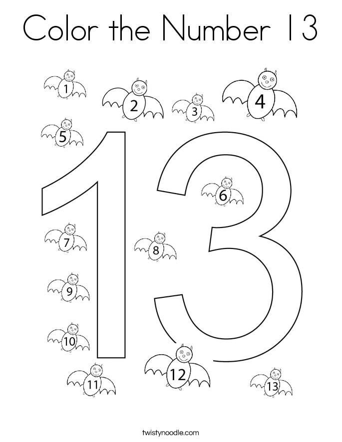 Color the Number 13 Coloring Page